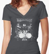 Vintage Da Vinci Drum Women's Fitted V-Neck T-Shirt