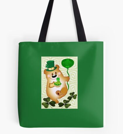 Teddy With St. Patrick's Greeting (1666 Views) Tote Bag