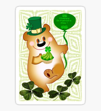 Teddy With St. Patrick's Greeting (1666 Views) Sticker