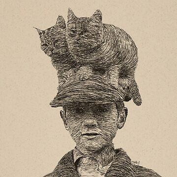 Cats On My Hat, Digital Drawing by bennyisjamin