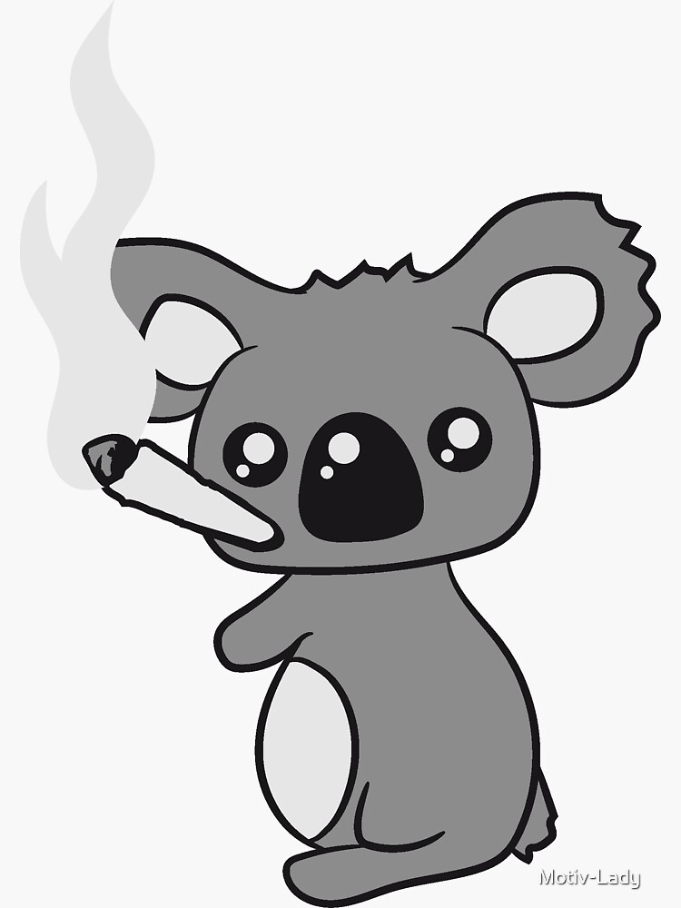 Kiffen Hanf Cannabis Joint Unkraut Rauch Topf hohe Droge Koala von Motiv-Lady