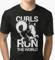 CURLS RUN THE WORLD Tri-blend T-Shirt