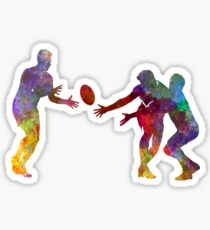 Rugby men players 02 in watercolor Sticker