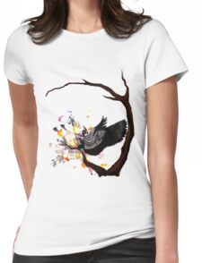 Sitting Raven Womens Fitted T-Shirt