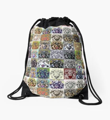 Artificial neural style wild cat Drawstring Bag