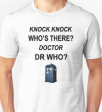 knock knock dr who for light colored shirts Slim Fit T-Shirt