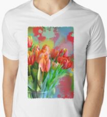 Colourful Painterly tulips on an abstract background. T-Shirt