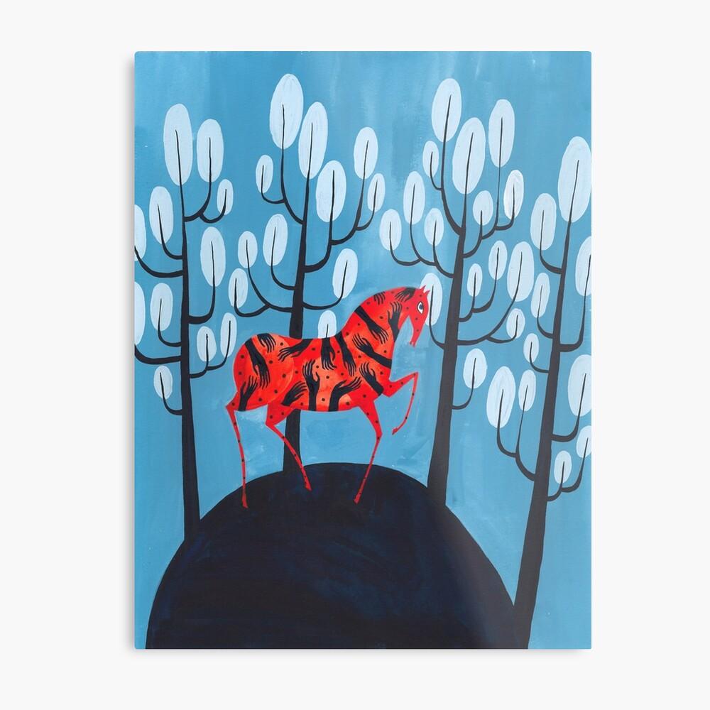 Smug red horse Metal Print