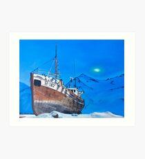 Frozen Fishing Trolley Art Print