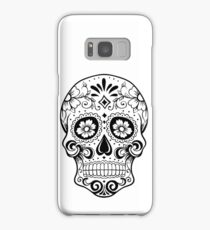 Black and white sugar skull Samsung Galaxy Case/Skin