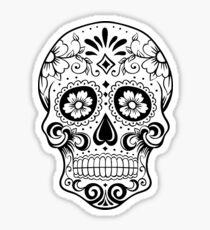 Black and white sugar skull Sticker