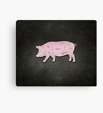 Parts of a Pig with Emphasis on Bacon Canvas Print