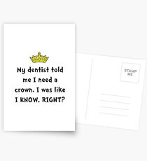 Dentist Crown Postcards