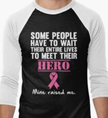Breast Cancer Hero Men's Baseball ¾ T-Shirt