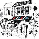 Pen and ink impresion of old French cafe with awning by Al Benge