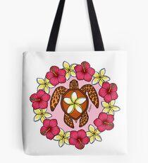 Plumeria Turtle Tote Bag