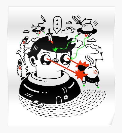 Super Duper Battle Station Vs. Bad Guy Aliens Poster