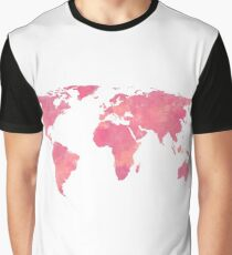 Pink Water Color World Map Graphic T-Shirt