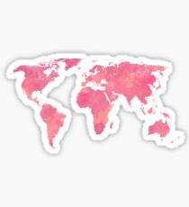 Pink Water Color World Map Sticker