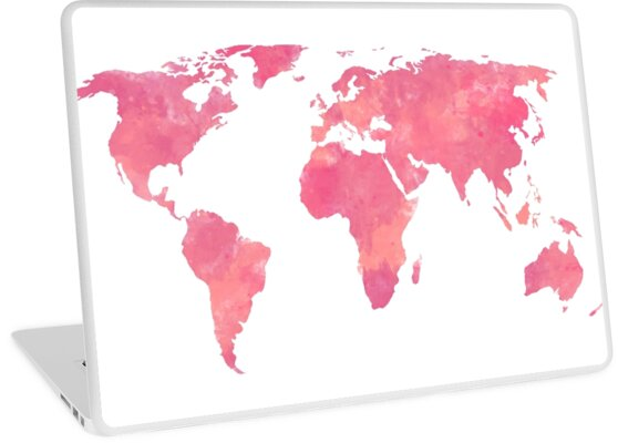 Pink Water Color World Map Laptop Skins By Leah Biernacki Redbubble
