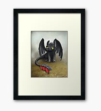 Toothless Dragon inspired from How To train Your Dragon. Framed Print