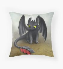 Toothless Dragon inspired from How To train Your Dragon. Throw Pillow