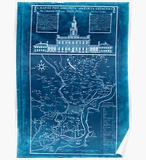 American Revolutionary War Era Maps 1750-1786 073 A map of Philadelphia and parts adjacent  with a perspective view of the State House Inverted Poster