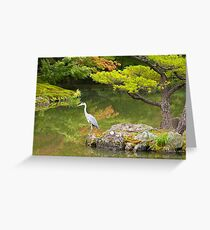 Heron at the Golden Pavilion, Kyoto. Greeting Card