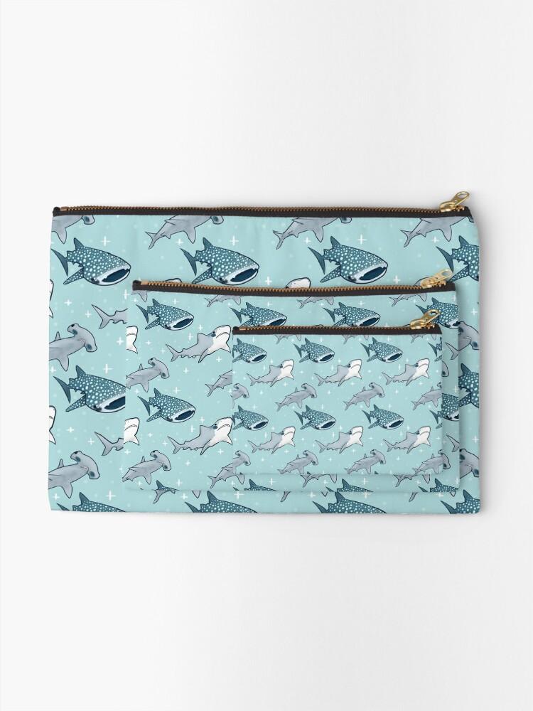 Alternate view of Shark Pattern Zipper Pouch