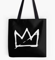 White Basquiat crown Tote Bag