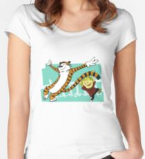 Calvin and Hobbes Dancing Women's Fitted Scoop T-Shirt