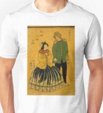 Kuniaki Hirasawa - Americans - 1861 - Woodcut Unisex T-Shirt