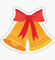Bells and red bow sticker Sticker