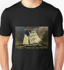 A digital painting, as an old style print, of a True Brigantine T-Shirt