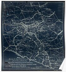 212 Map showing the lines of entrenchments of the CS Army of Northern Va exten ding from the Totopotomoy to the Chickahominy and the positions of the brigades Inverted Poster