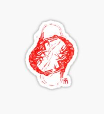 Linocut with red shrimps Sticker