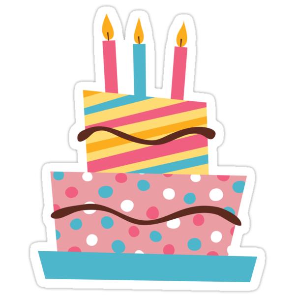 Retro Birthday Cake Sticker Stickers By Mhea Redbubble