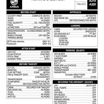 Airbus A320 checklist by LimaEchoAlpha