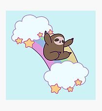 Rainbow Cloud Sloth Photographic Print