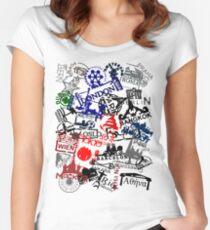 Travel Destination Passport Stamps Women's Fitted Scoop T-Shirt