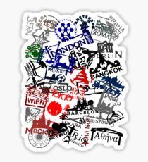 Travel Destination Passport Stamps Sticker