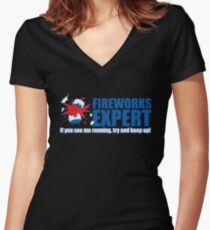 fireworks expres Women's Fitted V-Neck T-Shirt