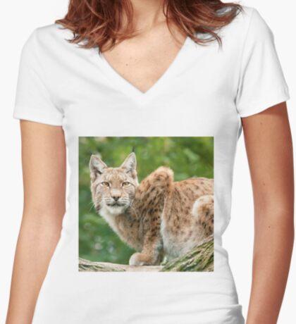 Golden eyes Women's Fitted V-Neck T-Shirt