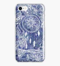 Blue modern dreamcatcher feathers floral doodles  iPhone Case/Skin