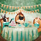 Cat and Rabbits Tea Party by Ryan Conners