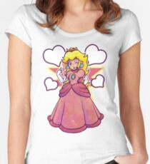 Hearts and Princess Peach Women's Fitted Scoop T-Shirt