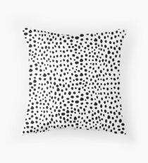 Modern Black and White Hand Drawn Polka Dots Throw Pillow