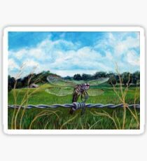 Dragonfly on barbed wire Sticker