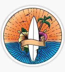Surfing Hawaii Colour T Shirt Sticker