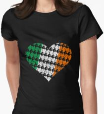 Irish Flag Heart Womens Fitted T-Shirt